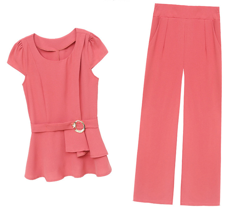 2019 Summer Chiffon 2 Two Piece Sets Outfits Women Plus Size Short Sleeve Tunics Tops And Pants Suits Office Elegant Korean Sets 67