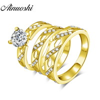AINUOSHI Real Gold TRIO Rings 14K Yellow Gold Couple Wedding Ring Set Stripe Drill Design Band Engagement Wedding Rings Jewelry