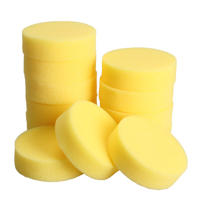 12PCS Wax Sponges Round Car Polish Sponge Car Wax Foam Sponges Applicator Pads For Clean Car Cleaner Care Tools Glass Yellow