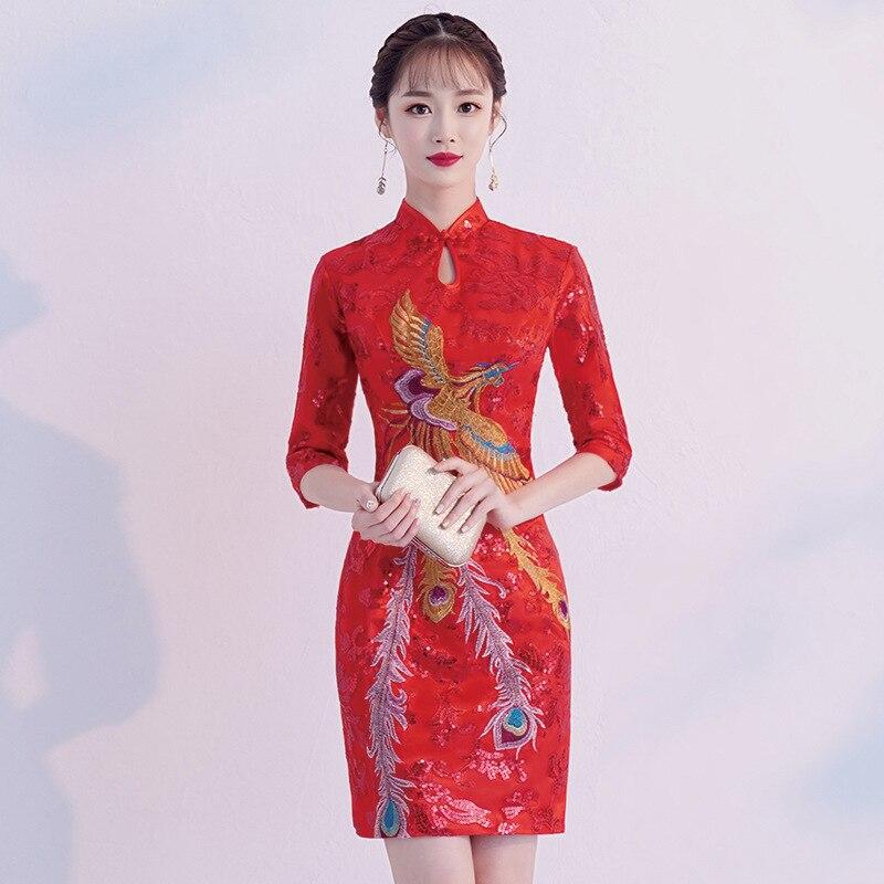 Rouge Sexy été longue Cheongsam style chinois robe femmes maille pailletée Qipao Slim robes de soirée dame bouton Vestido taille S-4XL