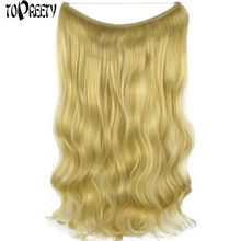 "TOPREETY Heat Resistant B5 Synthetic Fiber 22"" 55cm 100gr Body Wave Elasticity Wire Halo Hair Extensions 30 Colors Available(China)"