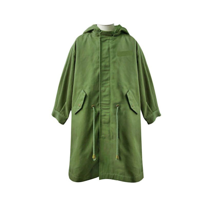 DFXD High Quality 2018 Teen Girls Long Army Green Zipper Hooded Back Letter Embroidery Jacket Coat Fashion Girls Outwear 5-14Y bow back hooded jacket