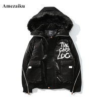 inter coat men new good quality padded cotton velour solid color men high street hooded large fur collar winter coat