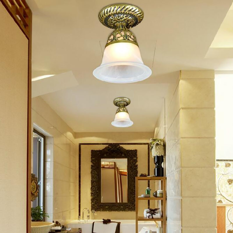 European Ceiling Lights for bedroom/balcony/aisle/kitchen LED Ceiling Lamp E27 glass shade Lighting fixtures AC85-265V fumat stained glass ceiling lamp european church corridor magnolia etched glass indoor light fixtures for balcony front porch