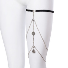 1 Pc High Quality Legs Thigh chain jewelry Punk Anklets Sexy Coin Tassels Leg Chain Fashion Caved Jewelry