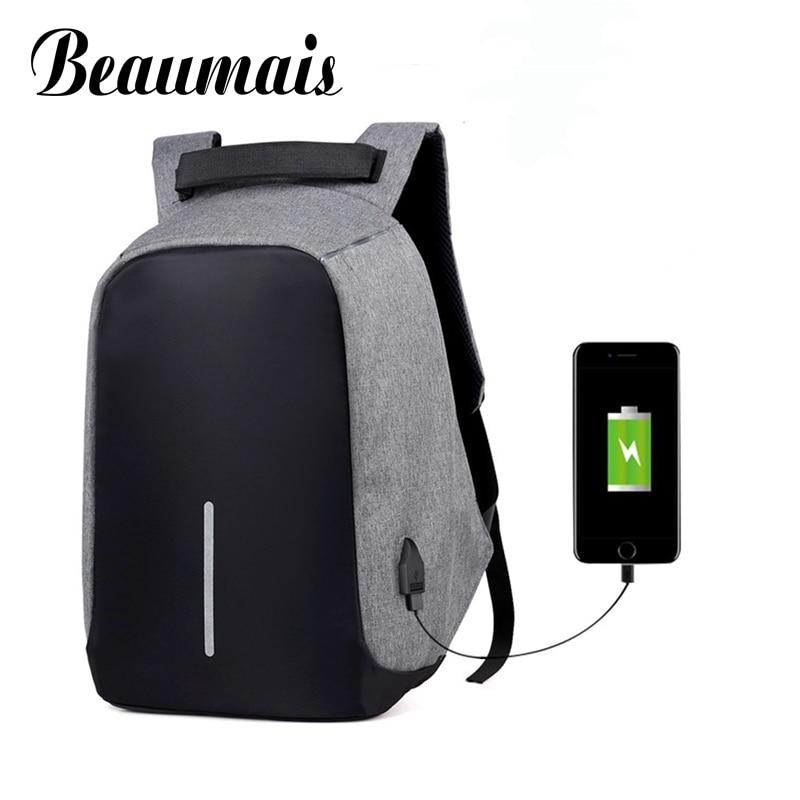 Beaumais Anti-thief USB Charging 15.6 inch laptop backpack for Women Men Backpack School Backpack Bags For Male Mochila DB6064 14 15 15 6 inch flax linen laptop notebook backpack bags case school backpack for travel shopping climbing men women