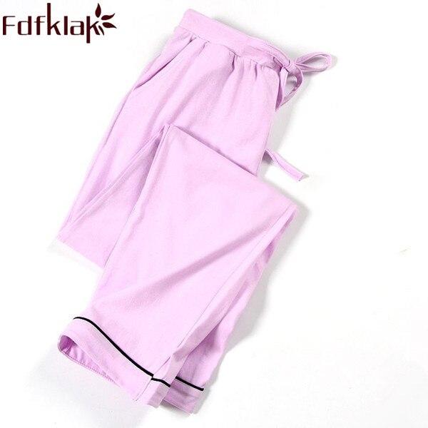 Damen-nachtwäsche Hose Pyjama Bottoms 2019 Frühling Herbst Frauen Hosen Lounge Baumwolle Hause Pyjama Hosen Schwarz/navy Damen Pyjama Bottoms Q298