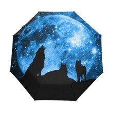 Kurt en Tam Ay Yıldızlı Gökyüzü Şemsiye Üç Katlanır Tam Otomatik Çalışma Yağmur çocuk şemsiyesi Rüzgar Geçirmez Anti UV Şemsiye