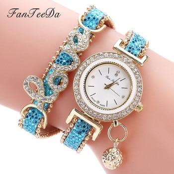 FanTeeDa Women's Fashion Love Word Leather Strap Bracelet Ladies Quartz Watches 2