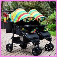 Радуга Портативный складной близнецов Детские коляски легкие коляски два ребенка двойной коляски Корзина Коляска разобрать 0 ~ 3 лет