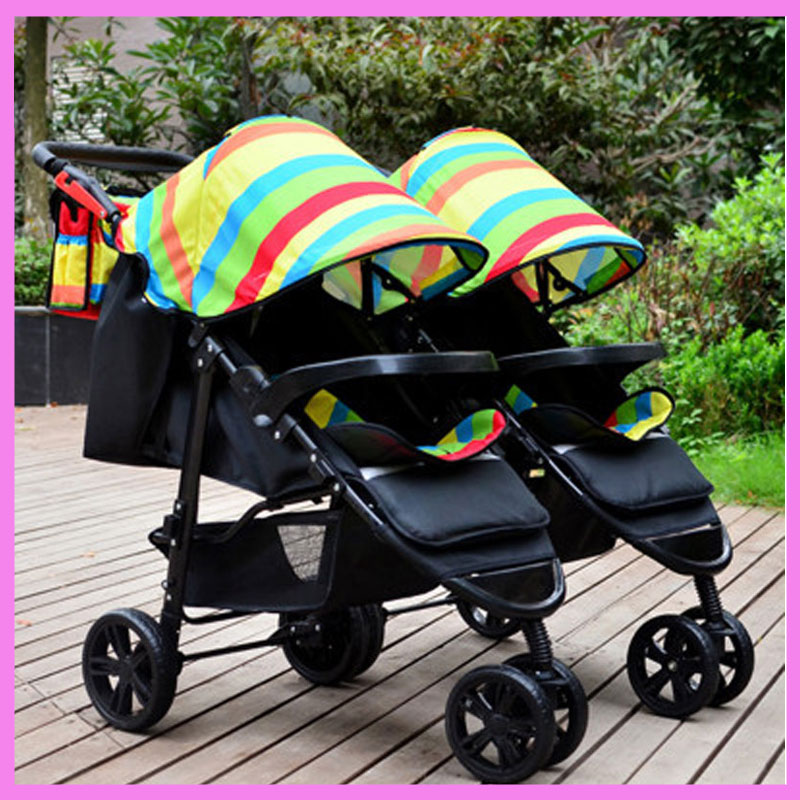 Rainbow Portable Folding Twins Baby Stroller Lightweight Pram Two Baby Double Stroller Cart Buggy Pushchair Disassemble 0~3 Y mige stroller baby trolley cart folding baby carriage baby cart can be lying on the baby cart portable cart pram with 3 gift