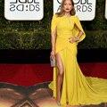 2016 Longo Vestido De Noite Da Sereia Globo de Ouro Celebridade Do Tapete Vermelho Vestido Amarelo Fenda Sexy Vestidos de Noite Formais