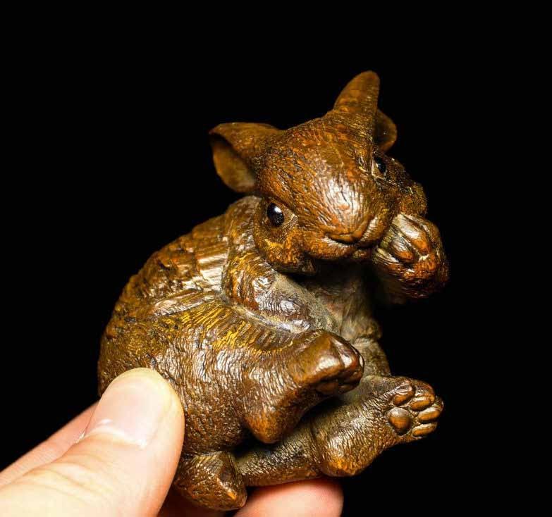 Chinese Folk Boxwood Wood Carving Lucky Animal Zodiac Rabbit Feng Shui Statue