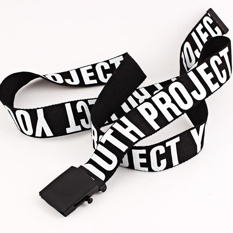 Los hombres de la moda de las mujeres carta correa de Nylon hebilla automática de lona cinturón gótico Harajuku vaqueros del todo-fósforo largo cinturones