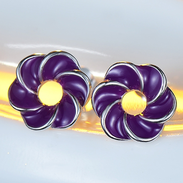 Elegant neutral purple flower earrings paint real 925 silver anti allergy sterling-silver-jewelry