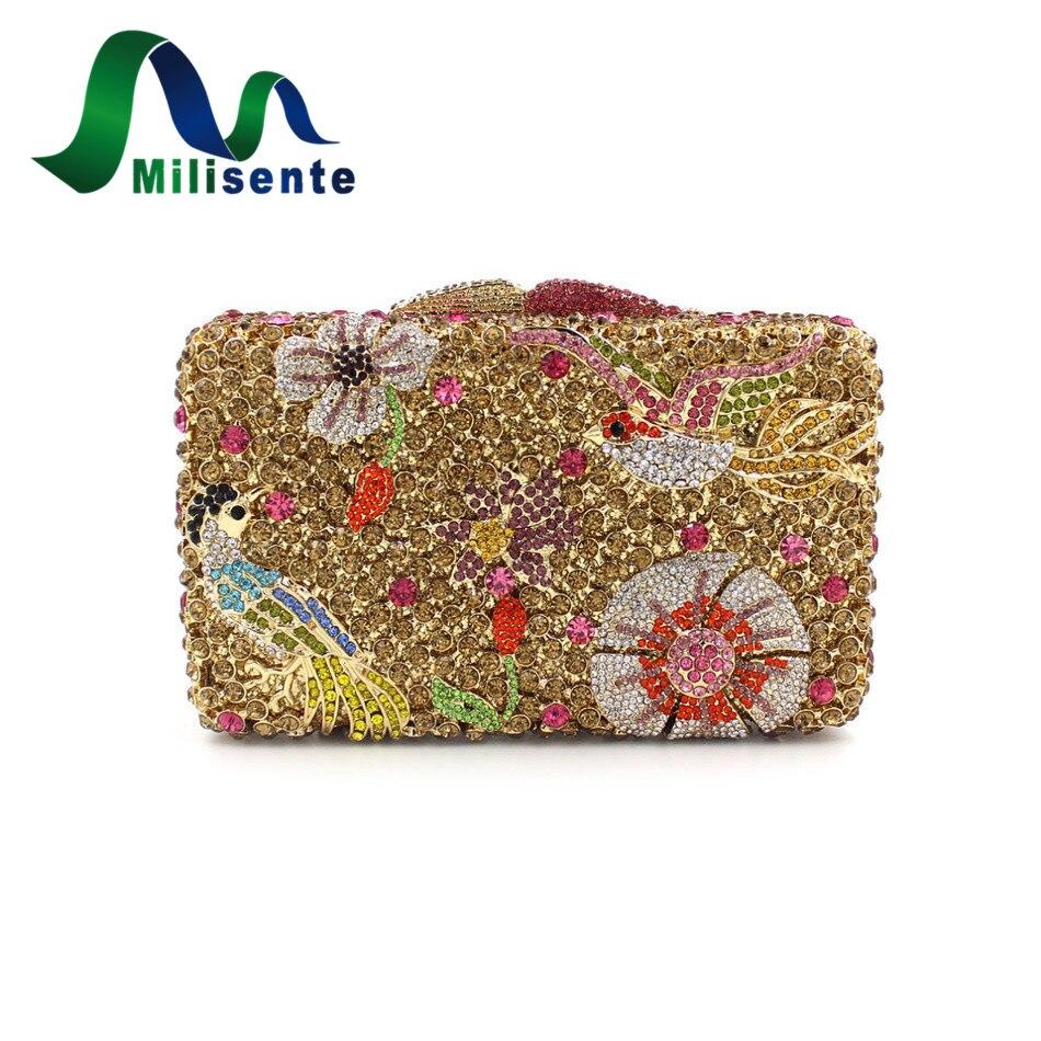 ФОТО Female Women Flower Bird Animal Crystal Evening Clutch Bag Wedding Party Purse Rectangular Shoulder Handbags Chain Gold