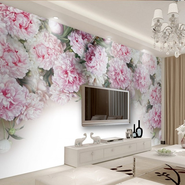 Custom Photo Wallpaper European Romantic Peony Flower TV Background Wall Mural Bedroom Hotel Theme Restaurant