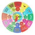 Формы Деревянные Часы Игрушки Строительных Блоков Разведки Игрушки для Верхних 12 Месяц Ребенок Округлые Ногтей Мультфильм Часы Детские Игрушки