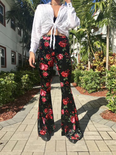 Women Stretch Long Floral Flare   Wide     Leg     Pants   Gypsy Palazzo Bell Bottom Hippie Trouser