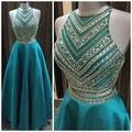 Listones de Cristal de lujo de Dos Piezas de Baile Vestidos Largos de Longitud de 2 Unidades Azul Del Trullo Vestidos de Graduación Prom Vestidos Brillantes