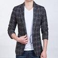 2016 New Arrival Moda Masculina Blazers Xadrez Single-Breasted Terno Marca Moda Casual Slim Fit Suit Jacket Blazers Plus tamanho 5XL