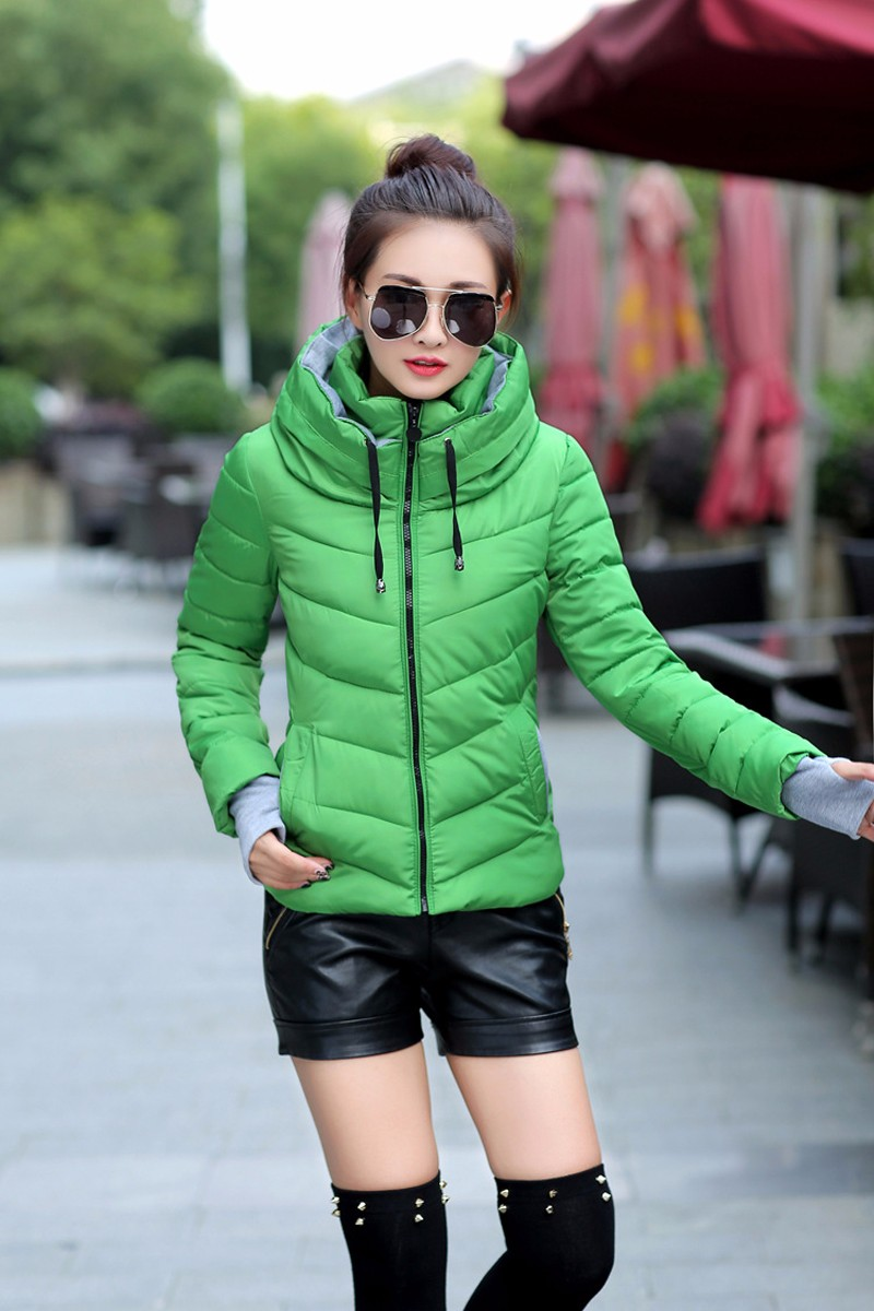 Winter Jacket Women Parkas Thicken Outerwear solid hooded Coats Short 24