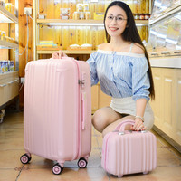 Luggage travel hard case personalized password box rose gold14 20 24 trolley luggage picture sets,lovely student travel luggage