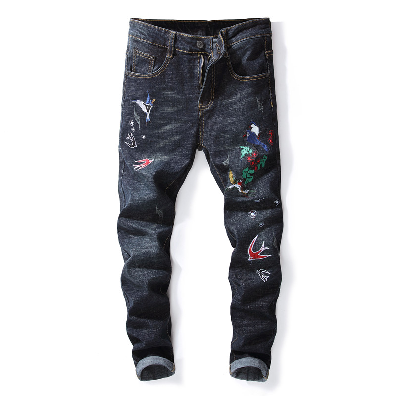 MORUANCLE New Mens Embroidered Jeans Trousers Fashion Skinny Stretch Ripped Denim Pants For Man With Birds Embroidery Size 29-38