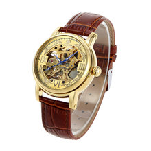 2016 Genuine leather Men Wristwatch Skeleton Clock Male Antique Steampunk Casual Automatic Mechanical Watches