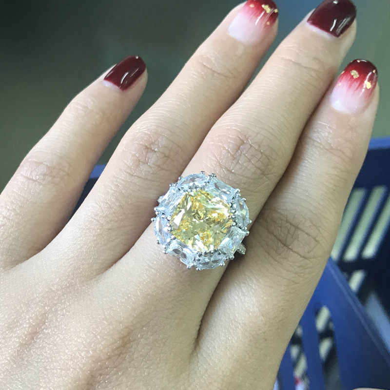 Ainoushi 925 Sterling Silver Engagement Rings For Women Yellow Stone 5 Carats Cushion Cut Halo Rings Anillos Plata Para Mujer