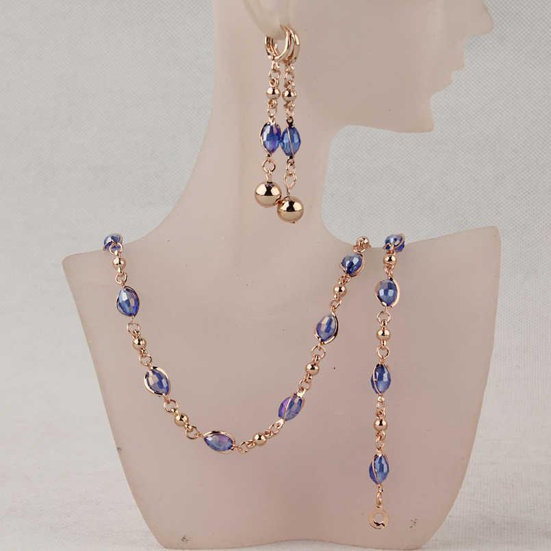 Mode Kristall Afrikanische Perlen Schmuck Sets Gold Farbe Hochzeit Brautschmuck Sets Frauen Halskette Ohrringe Armbänder Schmuck