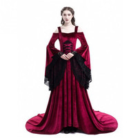 Plus Size Vintage Women Cos Clothing Dress New Medieval Flare Sleeve Halloween Dress Lace Cold Shoulder Long Dresses