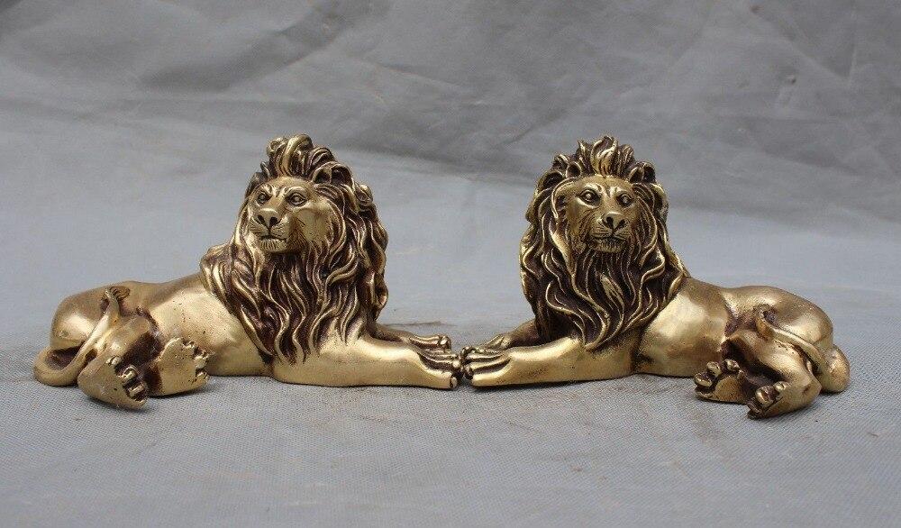 Artisanat statue chine chinois fengshui laiton afrique animal foo chien lion bête chanceux statue paire halloween