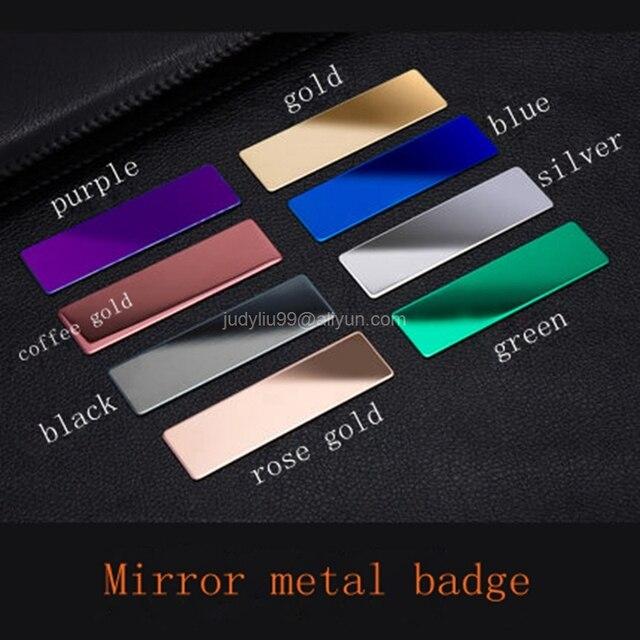 10 stücke förderung 70X20mm blank (kein druck) metall name tag spiegel abzeichen halter mit magnet oder pin