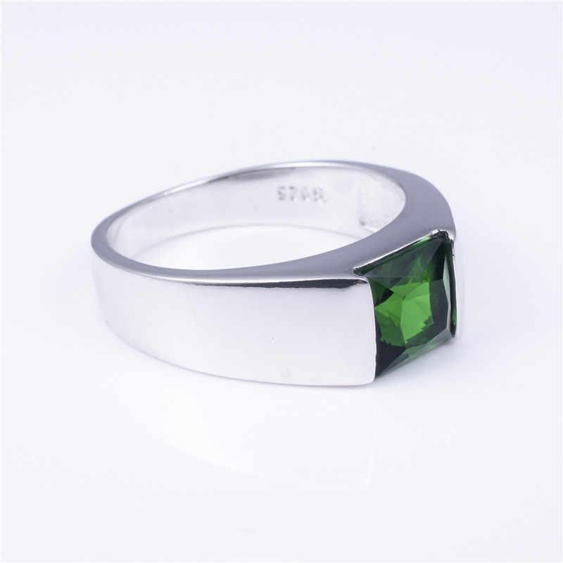 ผู้ชาย Eternity 925 เงินสเตอร์ลิงสแควร์สีเขียวธรรมชาติหินอัญมณี Solitaire แหวนขนาด 8-12