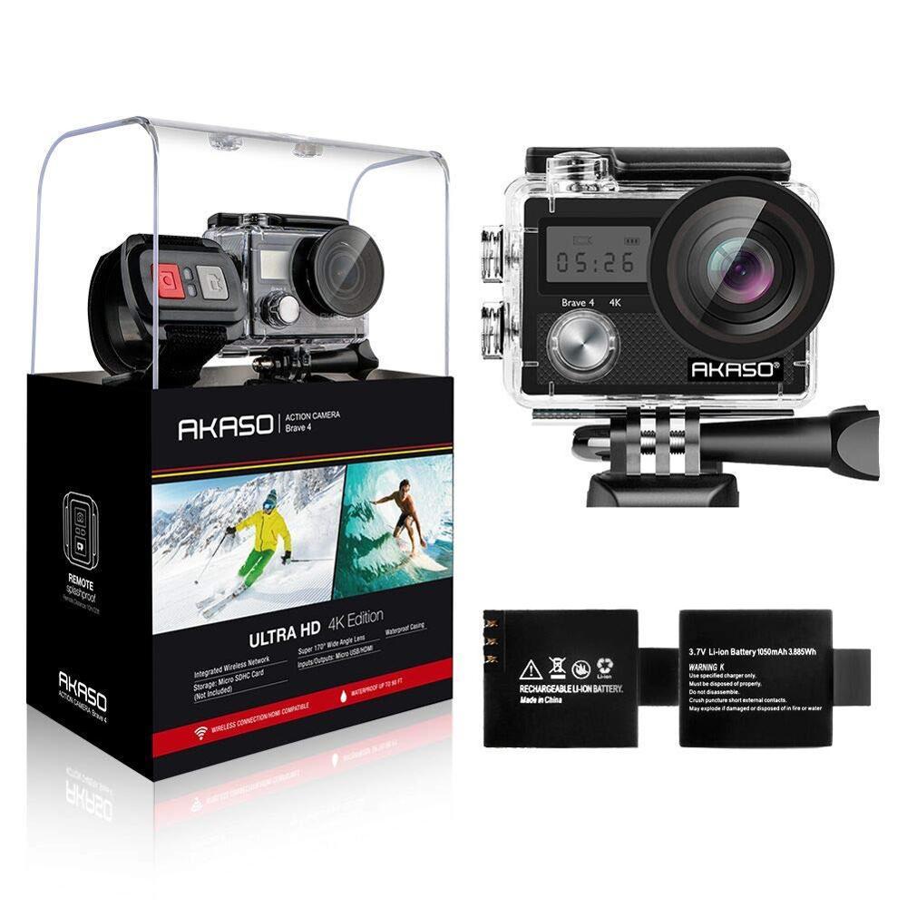 AKASO Brave 4 Action caméra 4 K/24fps Ultra HD 20MP Wifi anti-secousse 30 m sous-marine étanche télécommande casque Sport cam