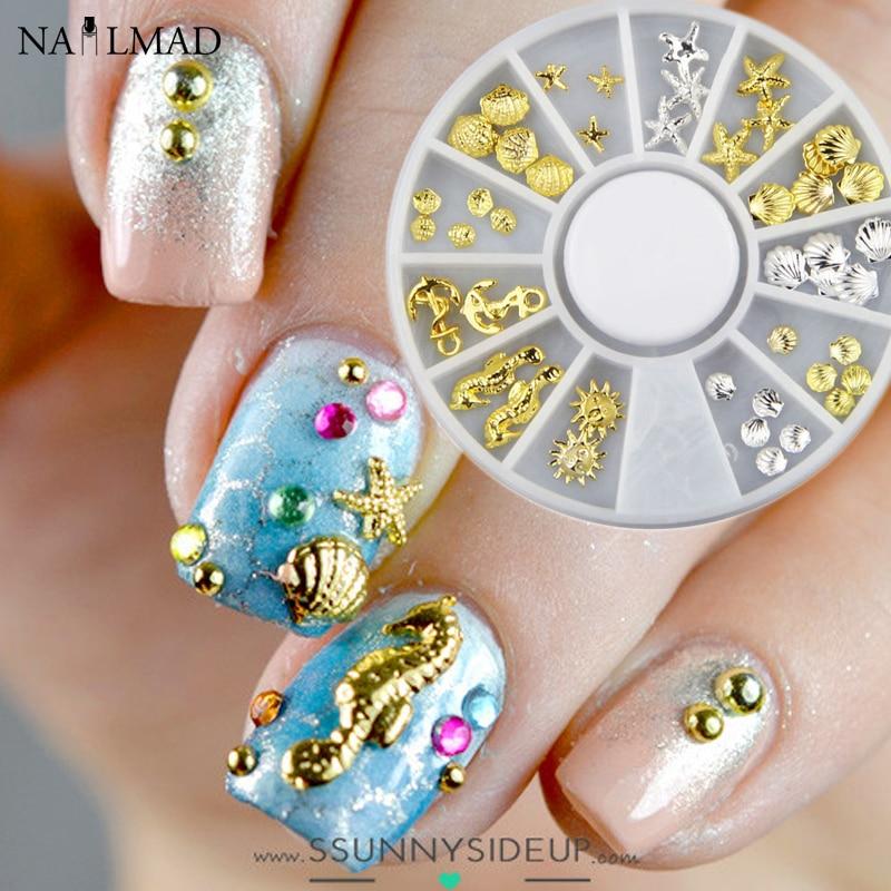1 caja de metal Sea Horse Shell Nail Studs oro plata estrella de mar - Arte de uñas - foto 1