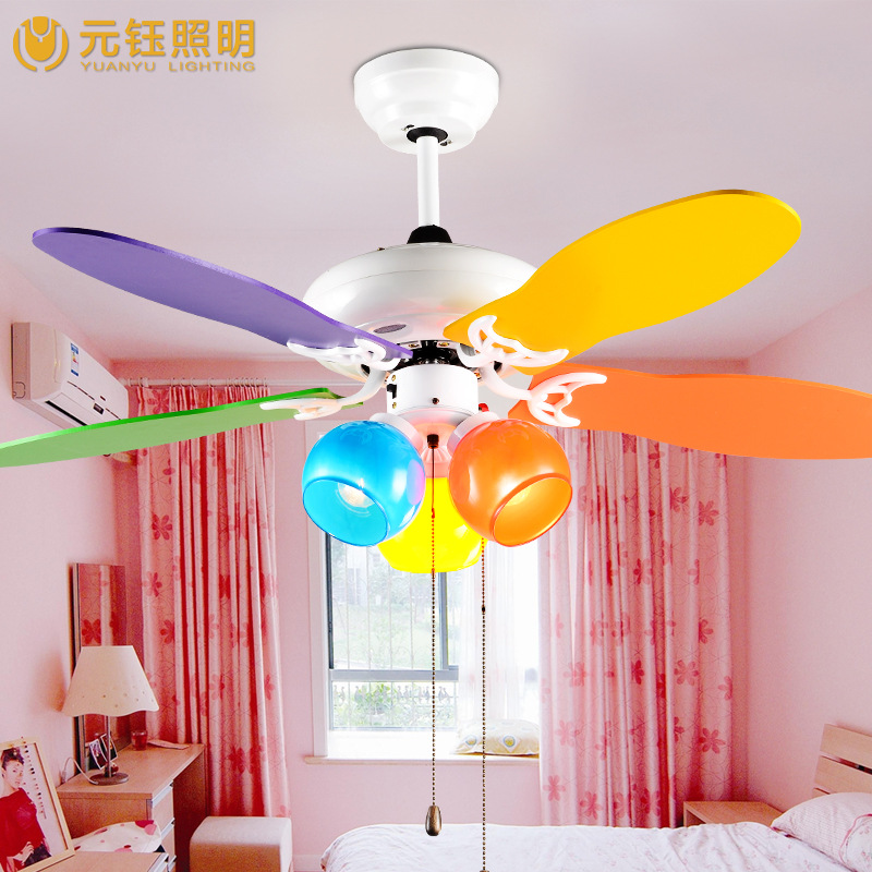 Colorful Romantic Cute Kids Room Led 3 Heads Ceiling Fans With Lights 42 Inches 70