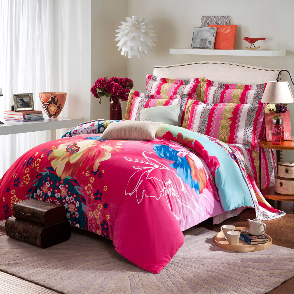 twin full queen size 100 cotton bohemian boho style beautiful comforter sets duvet cover pink. Black Bedroom Furniture Sets. Home Design Ideas