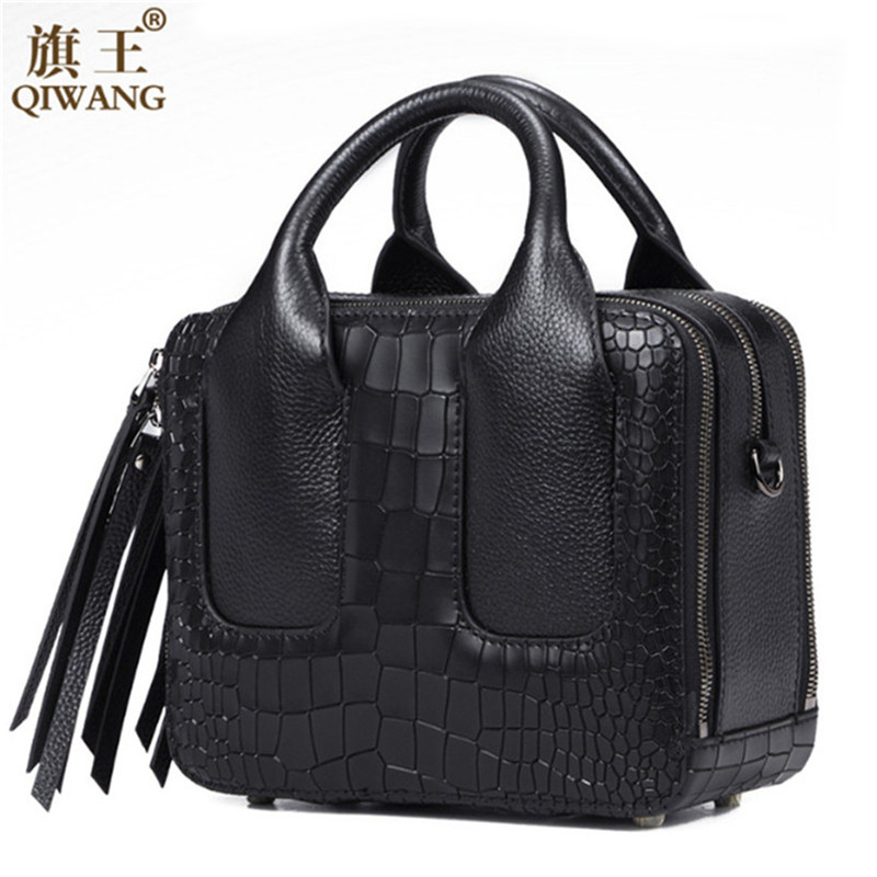 Qiwang Nice Box Bags Luxury Brand Women Lay Bag 2016 Italian Crocodile Handbags Purse Leather Lady