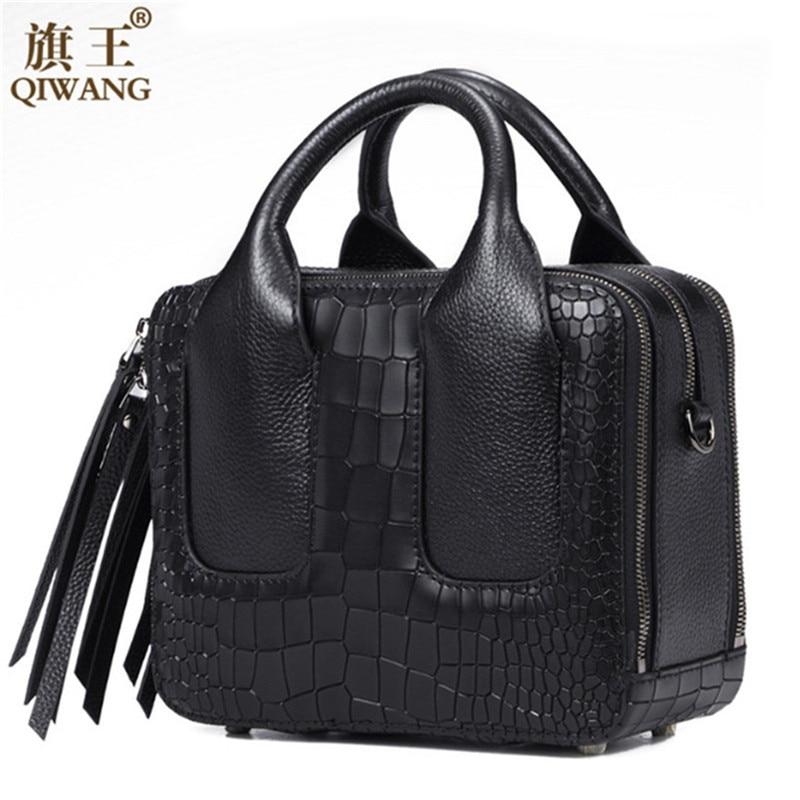 Qiwang Nice Box Bags Luxury  Brand Women Lay Bag 2017 Italian Crocodile Handbags