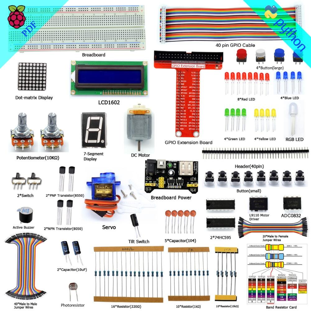 3 2 Adeept Super Starter Kit Para Raspberry Pi Modelo B/B + Python LCD1602 Servo Livro Fones De Ouvido Diy Diykit