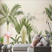 Factory direct medieval flamingo hand painted tropical plant landscape living room, bedroom, sofa, TV background wall