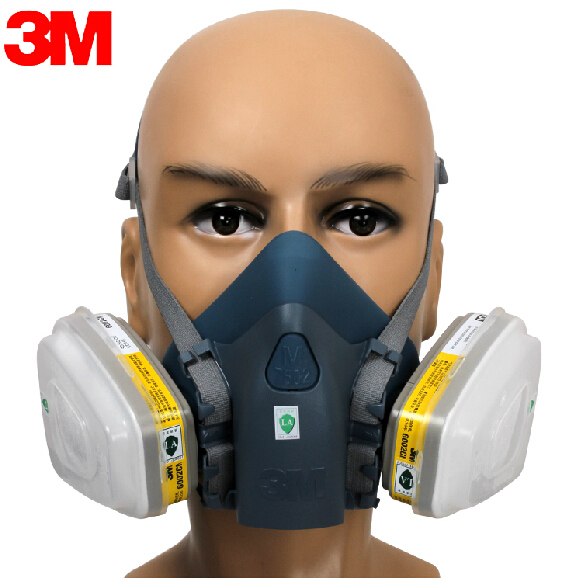 3M 7501+6002 Half face Respirator Mask Reusable Respirator Mask Against Certain Acid Gas CL2/SO2/HCl/ H2S 7 Items for 1 Set XK00 skull style half face mask old silvery