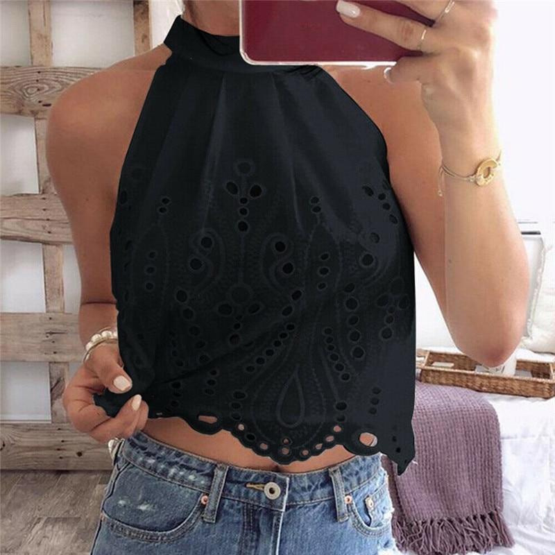Feitong Tank-Tops HALTER-NECK Black Women Vest Cami T-Shirt Summer Ladies Beach Tee XS-XXL