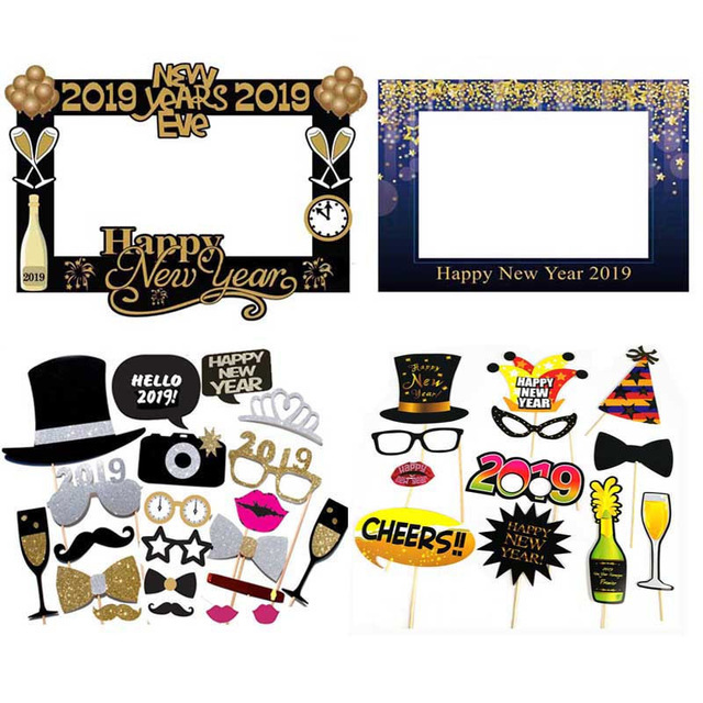 Happy New Year Decoration 2019 Gold Black Photobooth Props New Years