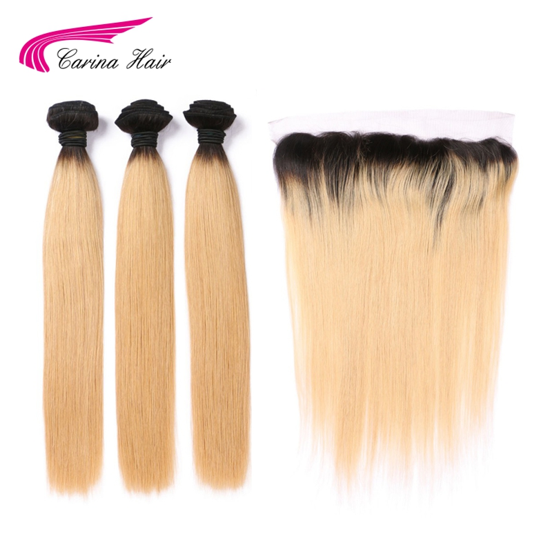 Honey Blonde Ombre 1b 27 Color Brazilian 3 Bundles with Frontal Closure Carina Remy Human Hair