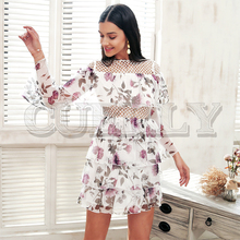 CUERLY Ruffle mesh hollow out summer dress Women flare sleeve elegant short Chiffon floral print causal vestidos