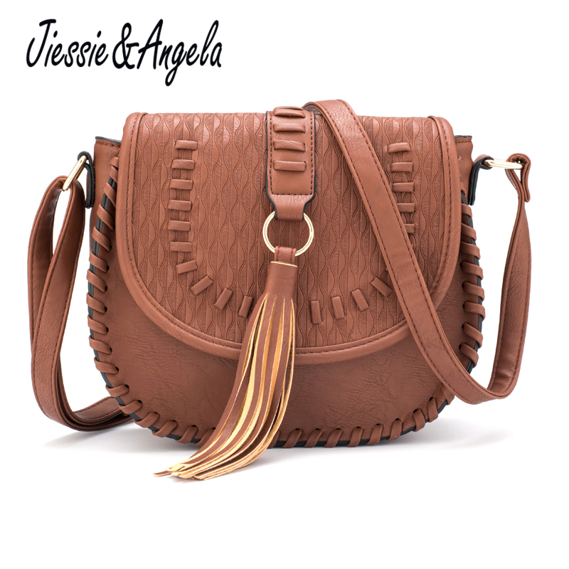 Jiessie & Angela New Vintage Women Crossbody Bags PU Leather Messenger Bag Bolsa Feminina Purses And Handbags Ladys Shoulder Bag women cute pattern small shoulder bag crossbody messenger fashion bags new design pu leather shoulder bags bolsa feminina