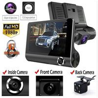 4 inch HD 1080P Dual Lens Rearview Car DVR Camera Video Recorder Dash Cam G Sensor